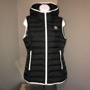 Adidas Originals Black Hooded Puffer Vest S